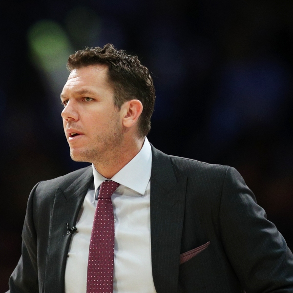 Luke Walton of the Los Angeles Lakers looks on during the second half against the New Orleans Pelicans at Staples Center on Feb. 27, 2019, in Los Angeles. (Credit: Yong Teck Lim/Getty Images)