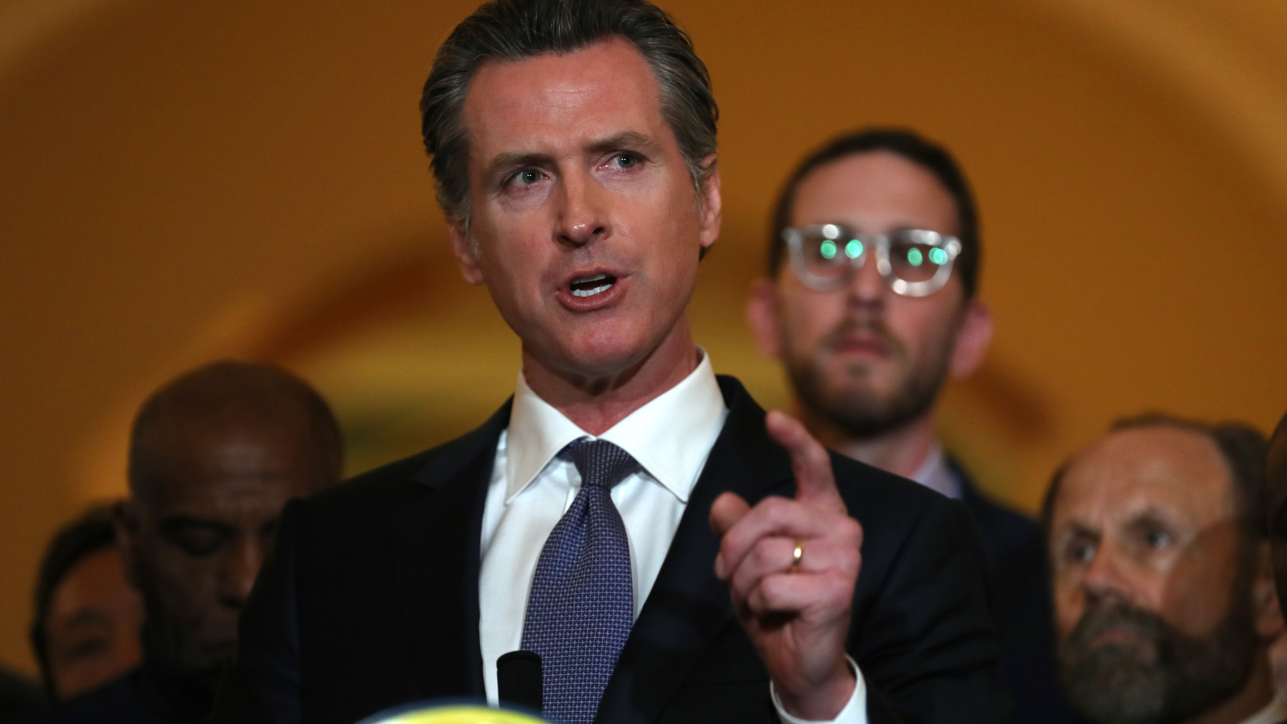 California Gov. Gavin Newsom speaks during a news conference at the California State Capitol on March 13, 2019, in Sacramento. (Credit: Justin Sullivan/Getty Images)