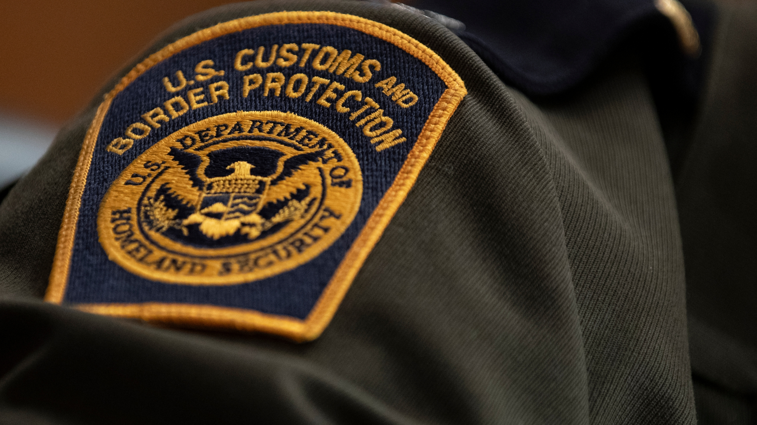 A U.S. Customs and Border Protection patch on a uniform on April 9, 2019 in Washington, DC.. (Credit: Alex Edelman/Getty Images)