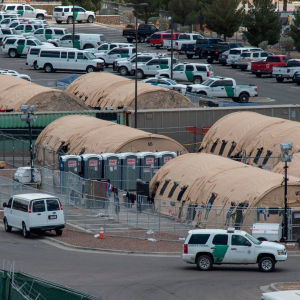 Tents are seen at a temporary holding facility for migrants that has been in use since early May, to hold the record numbers of migrants entering the El Paso border sector, in El Paso, Texas on May 31, 2019. (Credit: PAUL RATJE/AFP/Getty Images)
