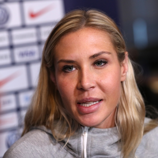 Allie Long speaks during the United States Women's National Soccer Team's Media Day ahead of the 2019 Women's World Cup at Twitter NYC on May 24, 2019, in New York City. (Credit: Mike Lawrie/Getty Images)