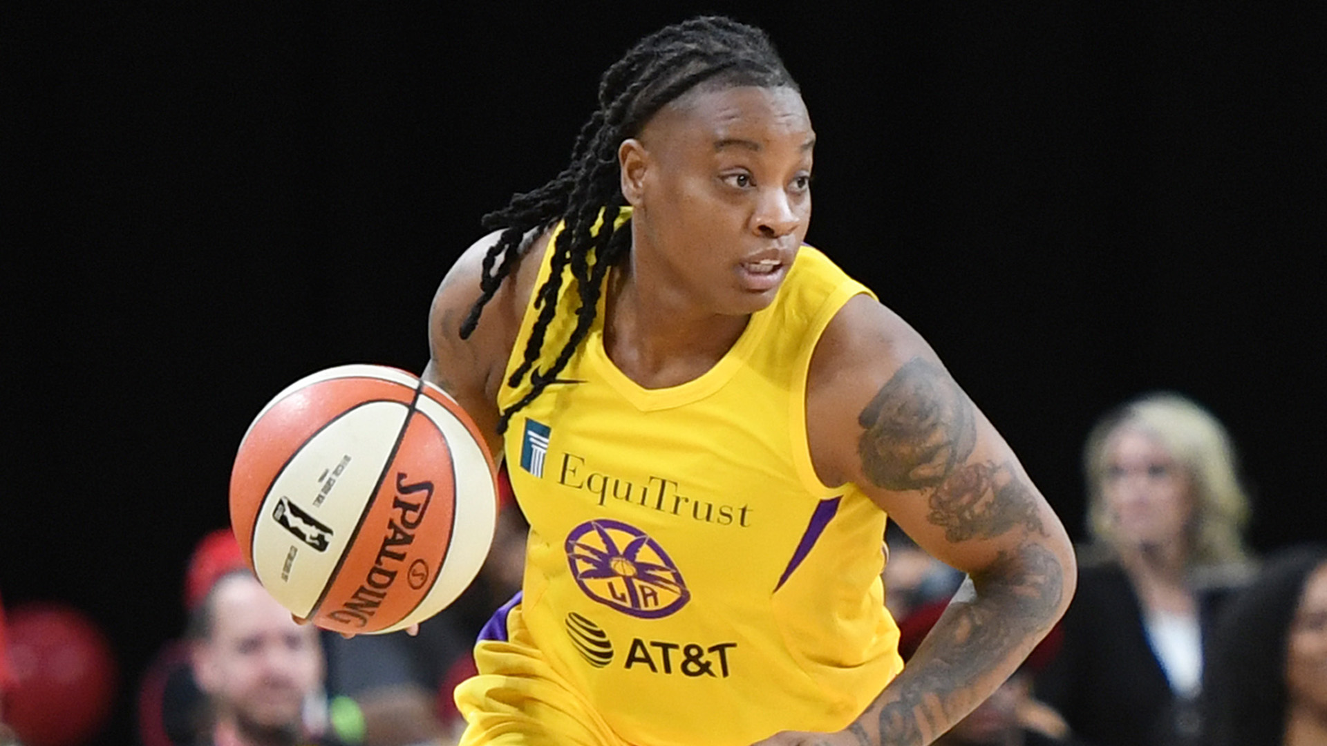 Riquna Williams #2 of the Los Angeles Sparks brings the ball up the court against the Las Vegas Aces during their game at the Mandalay Bay Events Center on May 26, 2019 in Las Vegas, Nevada. (Credit: Ethan Miller/Getty Images)