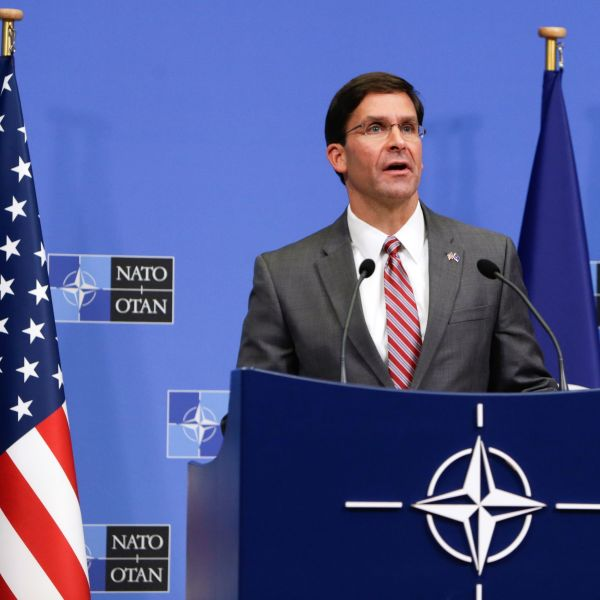 Acting U.S. Secretary for Defense Mark Esper gives a news conference during the NATO Defense Ministers meeting in Brussels on June 27, 2019. (Credit: ARIS OIKONOMOU/AFP/Getty Images)