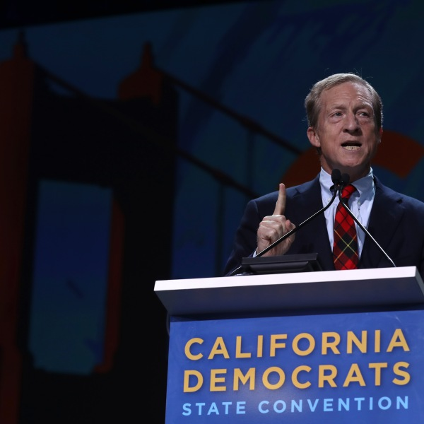 Tom Steyer speaks during the California Democrats 2019 State Convention at the Moscone Center on June 1, 2019 in San Francisco, California. (Credit: Justin Sullivan/Getty Images)
