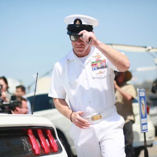Navy Special Operations Chief Edward Gallagher walks out of military court in San Diego during lunch recess on July 2, 2019. (Credit: Sandy Huffaker / Getty Images)