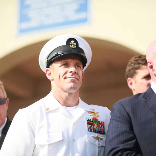 Navy Special Operations Chief Edward Gallagher celebrates after being acquitted of premeditated murder at Naval Base San Diego July 2, 2019. (Credit: Sandy Huffaker/Getty Images)