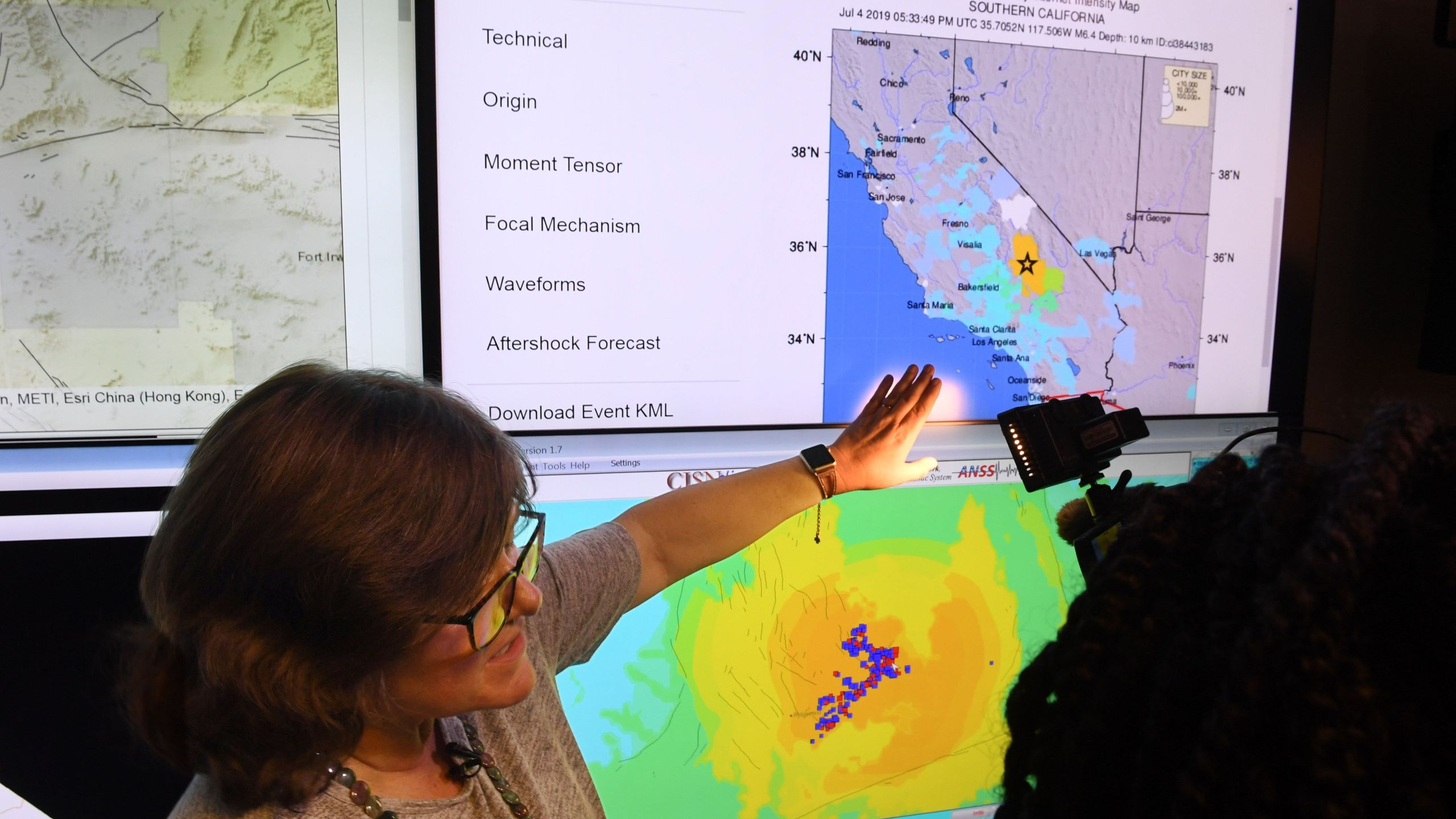 Seismologist Lucy Jones speaks during a media briefing at the Caltech Seismological Laboratory in Pasadena following the 6.4 magnitude Searles Valley earthquake near Ridgecrest on July 4, 2019. (Credit: Robyn Beck / AFP / Getty Images)