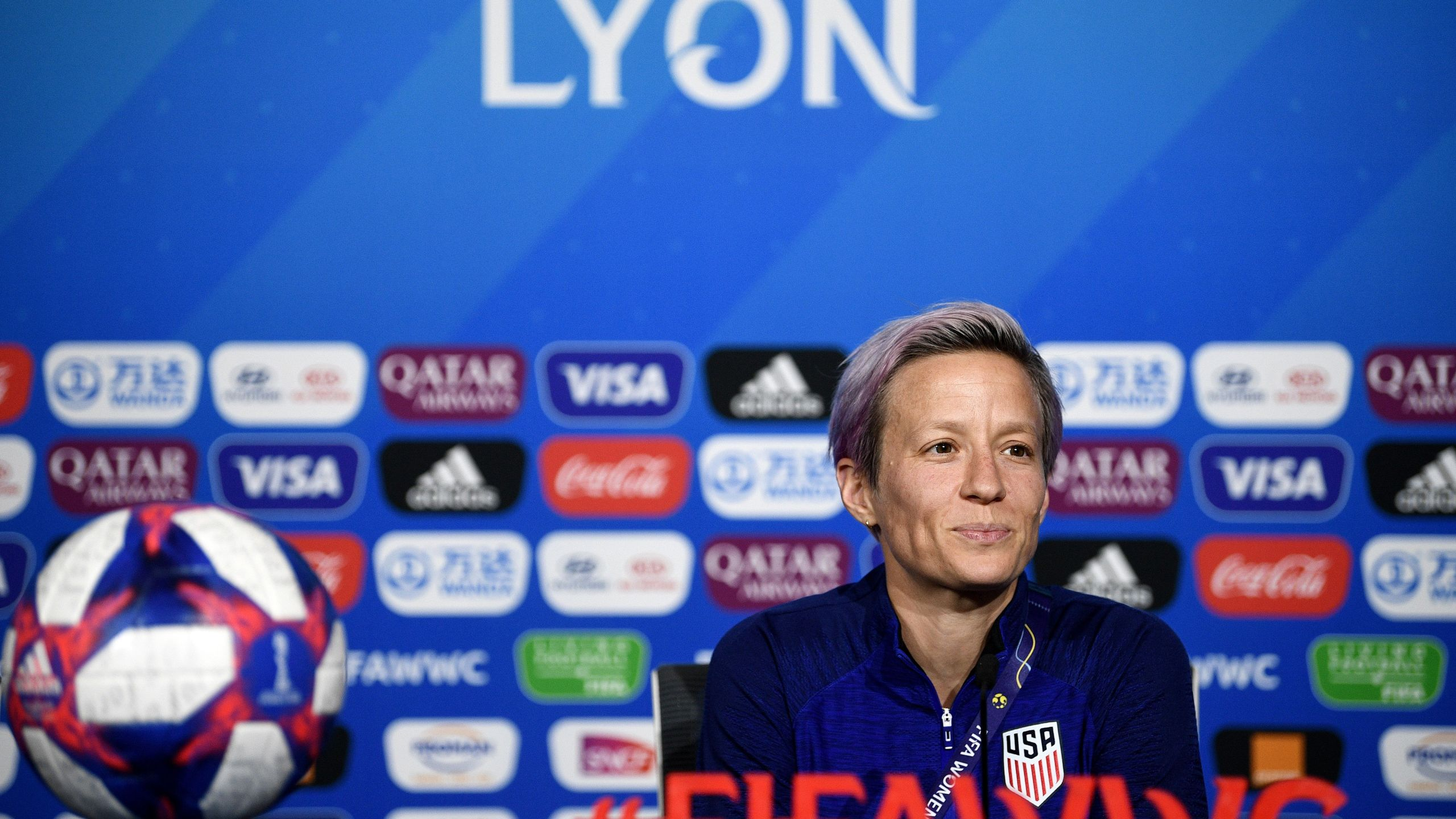 U.S. captain Megan Rapinoe gives a press conference at the Groupama stadium in Decines-Charpieu on July 6, 2019, during the France 2019 football Women's World Cup. (Credit: FRANCK FIFE/AFP/Getty Images)