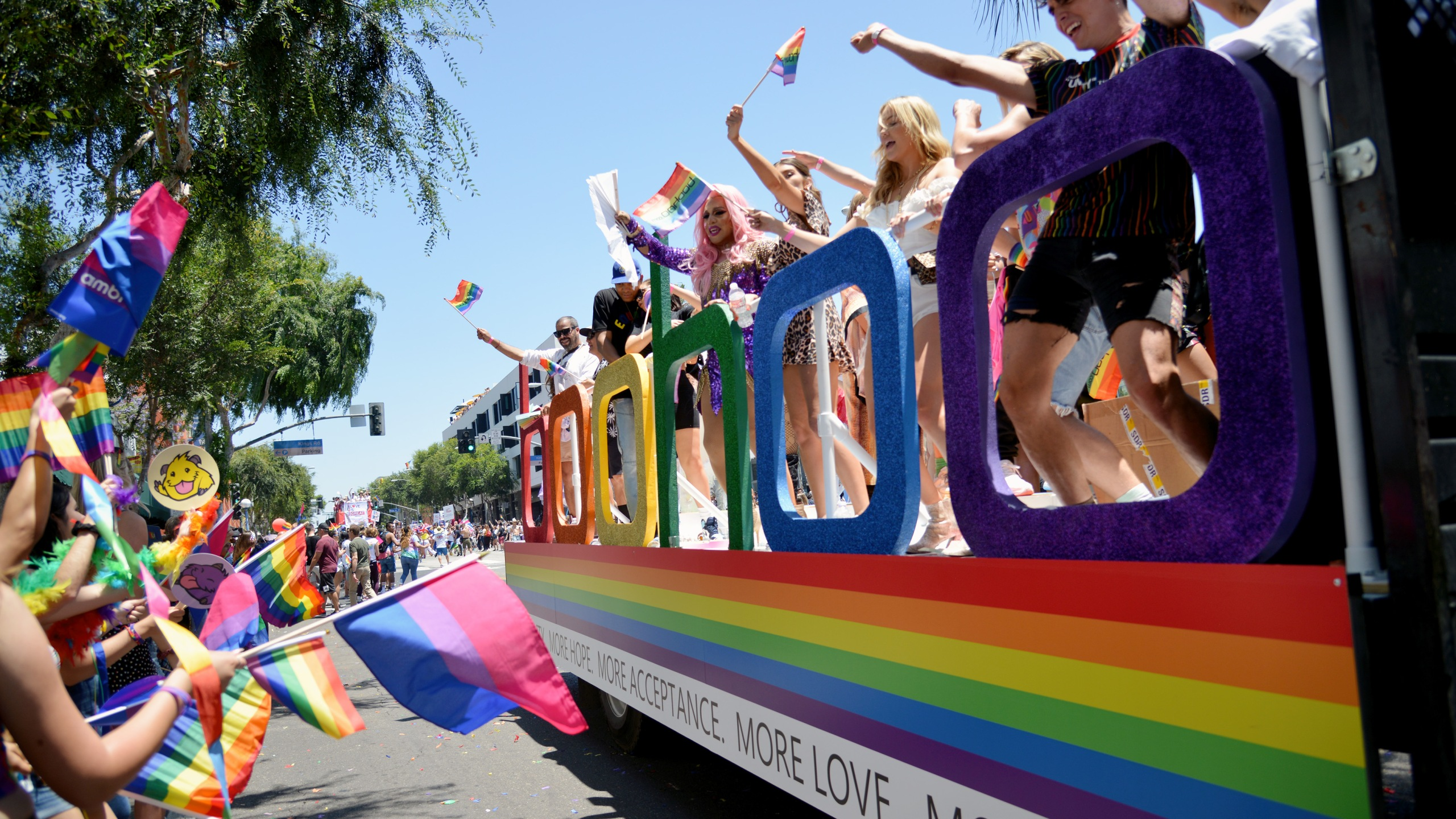 People are seen attending the L.A. Pride Parade on June 9, 2019, in West Hollywood, California. (Chelsea Guglielmino/Getty Images)