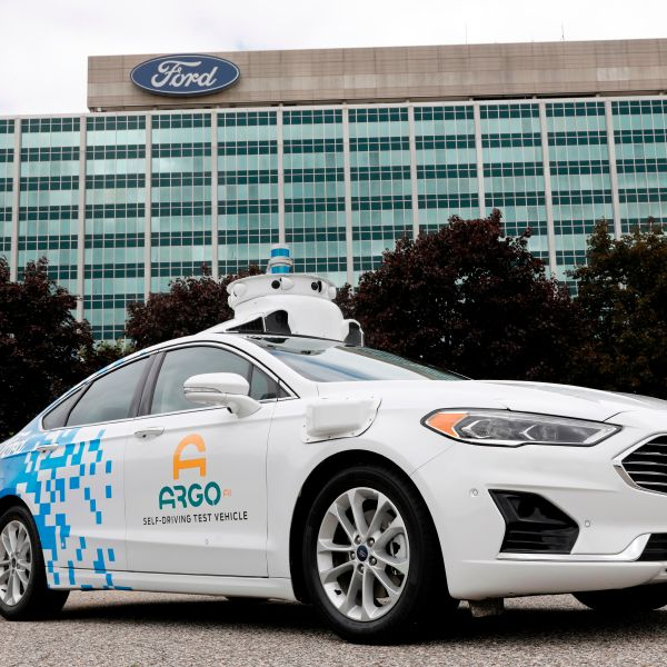 A Ford Argo AI test vehicle is parked in front of the Ford headquarters in Dearborn, Michigan on July 12, 2019. (Credit: JEFF KOWALSKY/AFP/Getty Images)