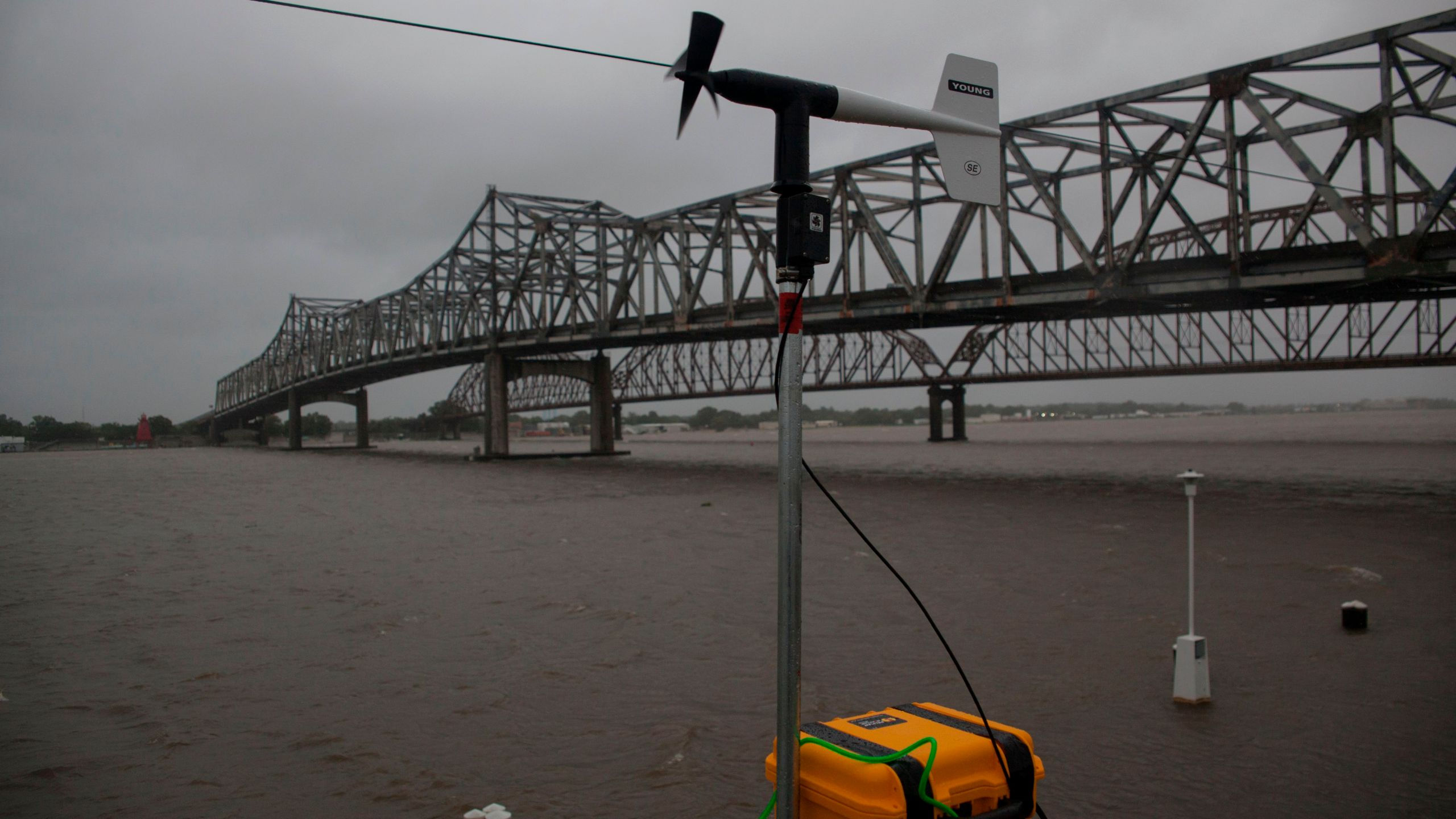 A wind gauge checks wind speeds and wind gusts along the Berwick River in Morgan City, Louisiana ahead of Tropical Storm Barry Saturday on July 13,2019. (Credit: SETH HERALD/AFP/Getty Images)