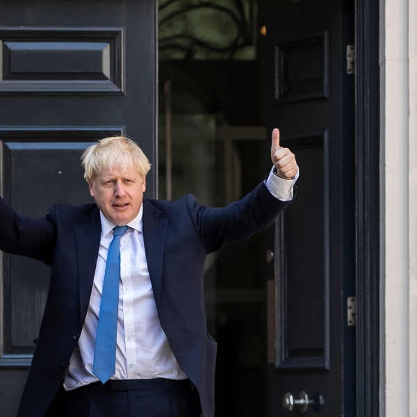 Newly elected Conservative party leader Boris Johnson poses outside the Conservative Leadership Headquarters on July 23, 2019 in London, England. (Credit: Dan Kitwood/Getty Images)