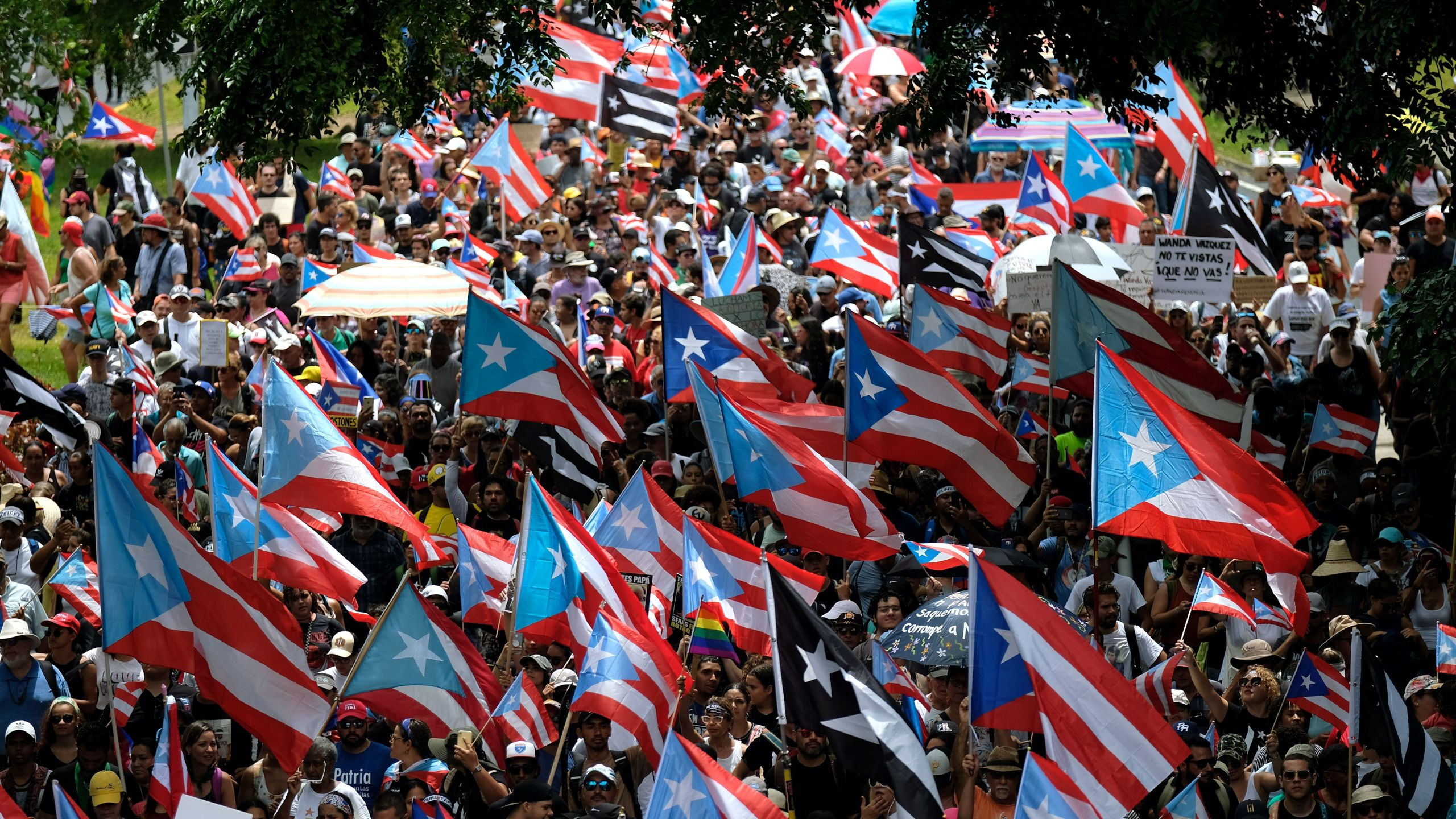 People march in San Juan on July 25, 2019, one day after the resignation of Puerto Rico Gov. Ricardo Rossello. (Credit: RICARDO ARDUENGO/AFP/Getty Images)