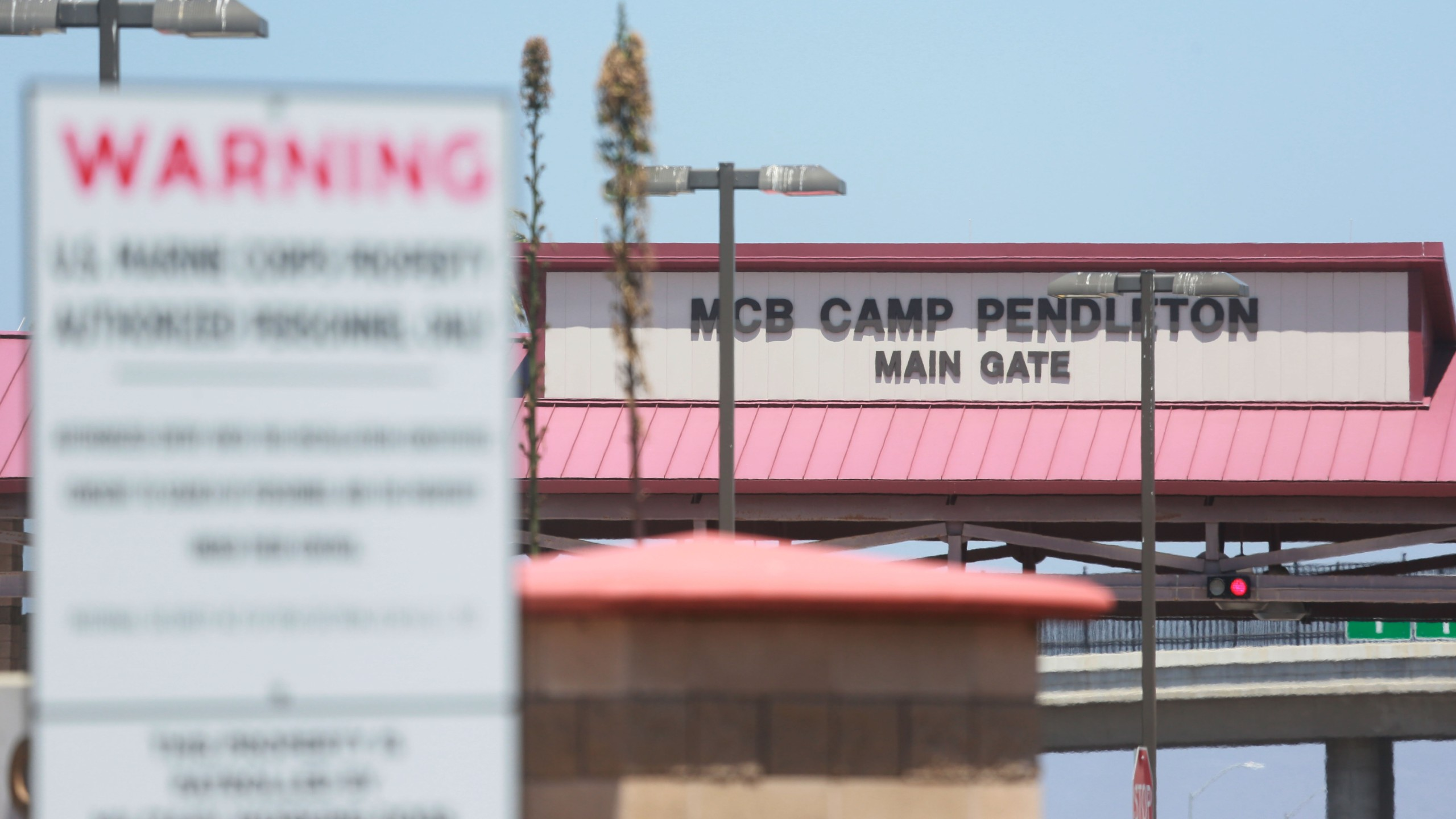 The main entrance to Camp Pendleton in Oceanside is seen on July 26, 2019. (Credit: Sandy Huffaker / Getty Images)