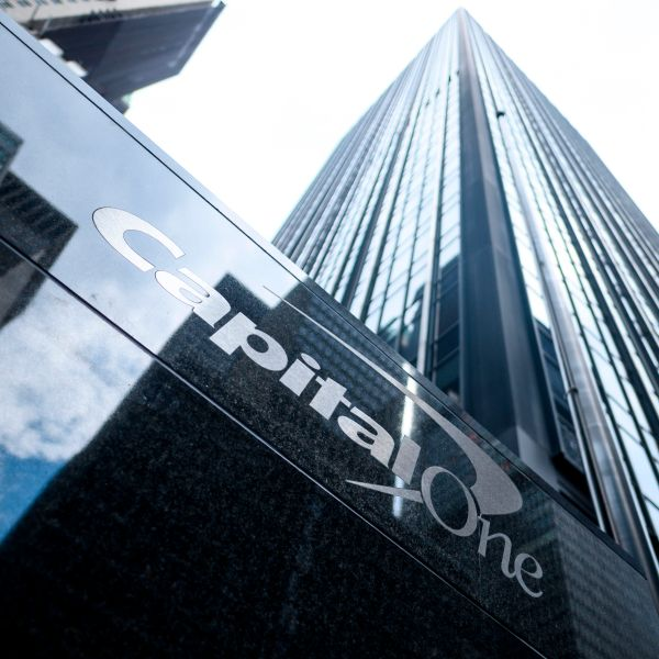 The Capital One Bank Headquarters is pictured on July 30, 2019 in New York City. (Credit: JOHANNES EISELE/AFP/Getty Images)