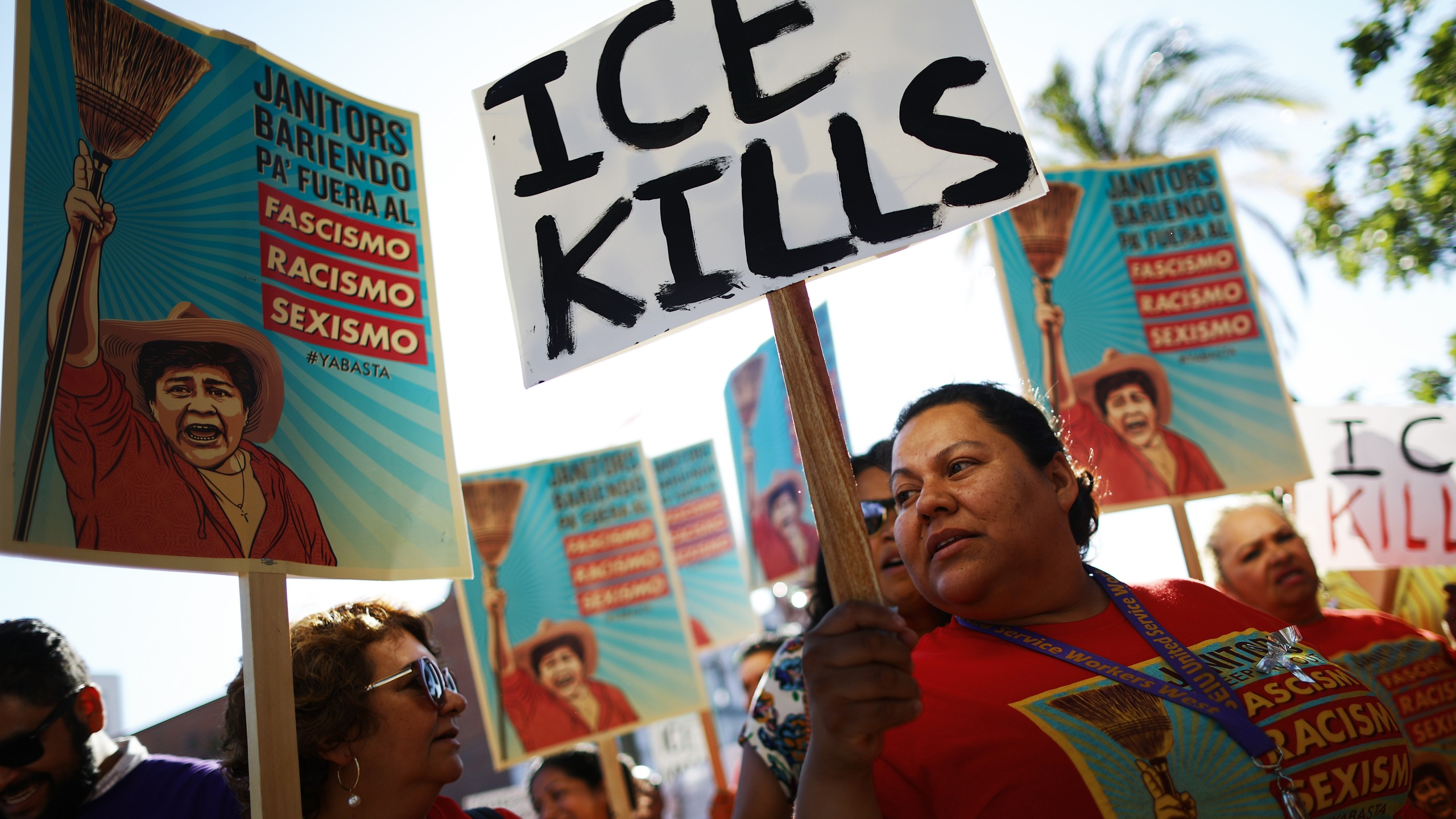 "Protesters demonstrate at a ""funeral procession"" on July 1, 2019 in Los Angeles for the migrants who perished at the U.S.-Mexico border or while in custody of U.S. Customs and Border Protection. (Credit: Mario Tama/Getty Images)"