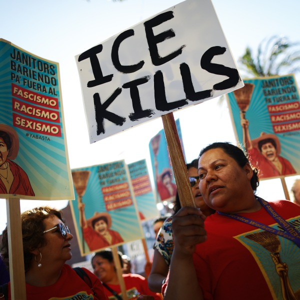 """Protesters demonstrate at a """"funeral procession"""" on July 1, 2019 in Los Angeles for the migrants who perished at the U.S.-Mexico border or while in custody of U.S. Customs and Border Protection. (Credit: Mario Tama/Getty Images)"""