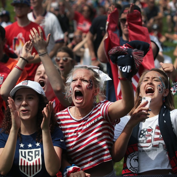 Fans watch the U.S. women's national soccer team play England in the Women's World Cup semifinal match at a viewing party hosted by U.S. Soccer in Lincoln Park on July 2, 2019 in Chicago, Illinois. (Credit: Scott Olson/Getty Images)