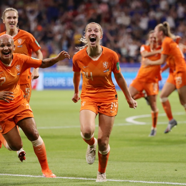Jackie Groenen of the Netherlands celebrates after scoring her team's first goal during the 2019 FIFA Women's World Cup France Semi Final match between Netherlands and Sweden at Stade de Lyon on July 3, 2019, in Lyon, France. (Credit: Robert Cianflone/Getty Images)
