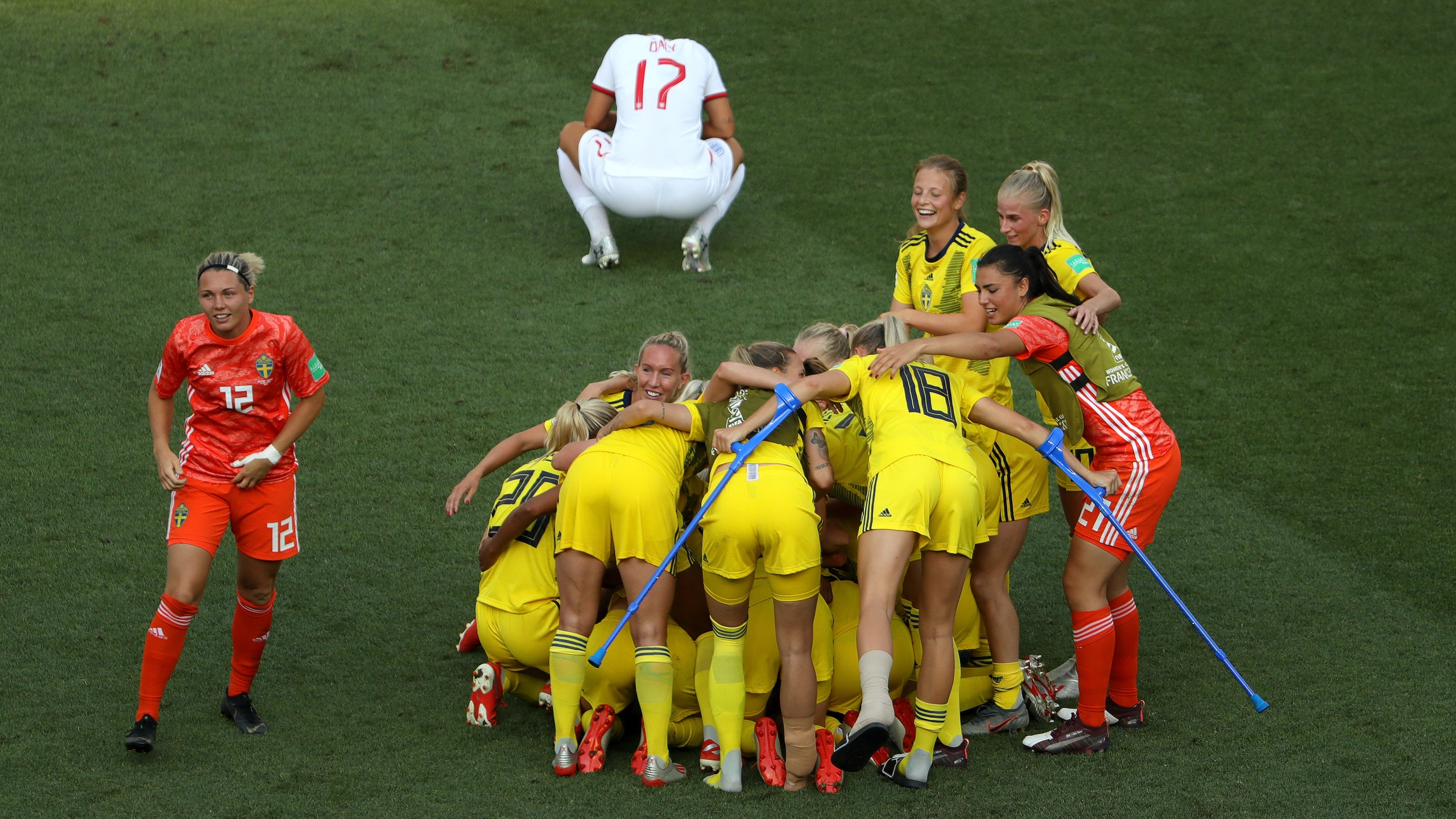 The Sweden players celebrate following their side's victory in the 2019 FIFA Women's World Cup France 3rd Place Match match between England and Sweden at Stade de Nice on July 6, 2019 in Nice, France. (Credit: Robert Cianflone/Getty Images)