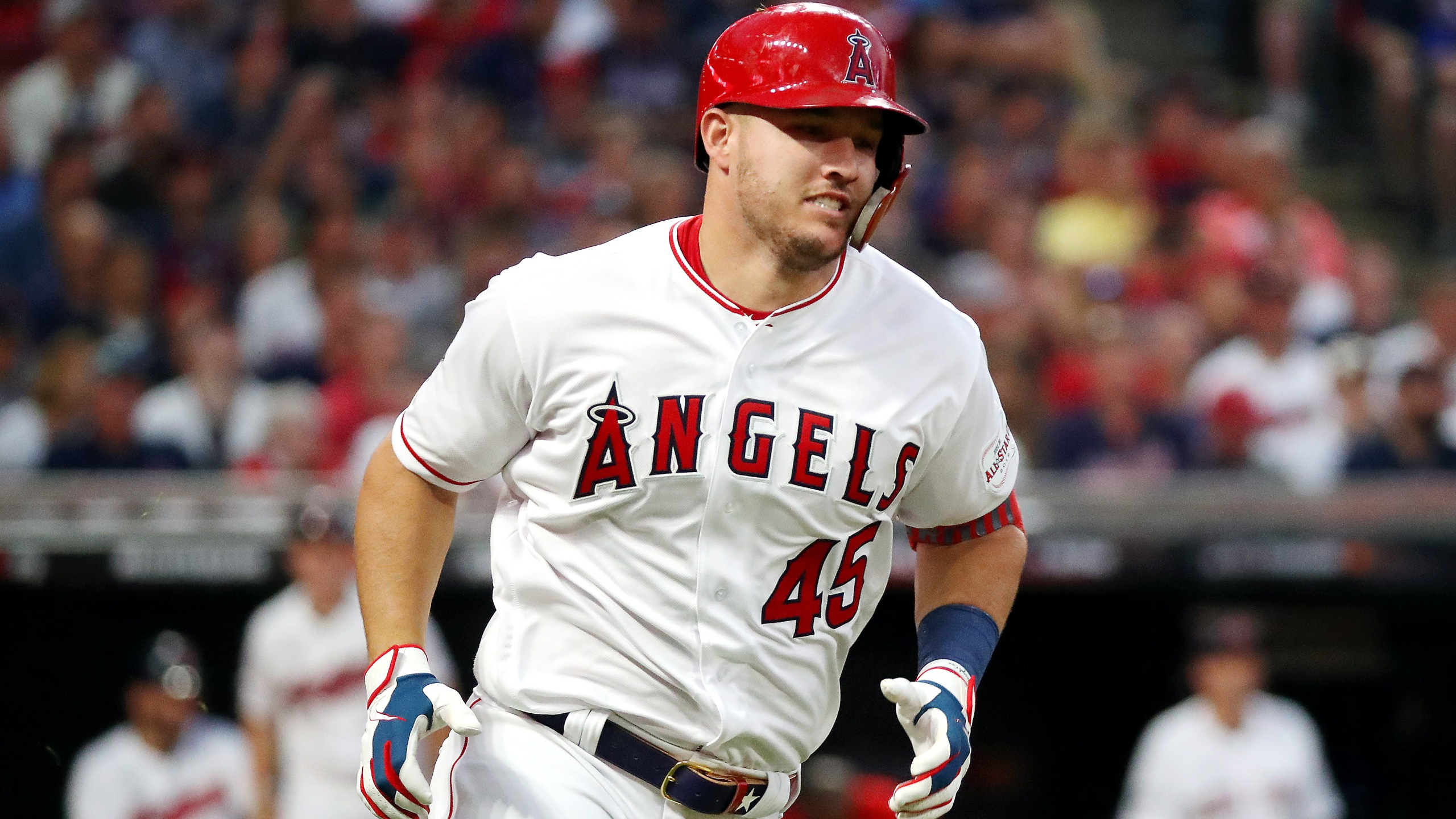Mike Trout of the Los Angeles Angels and the American League wears No. 45 in honor of his late teammate Tyler Skaggs during the 2019 MLB All-Star Game in Cleveland, Ohio, on July 9, 2019. (Credit: Gregory Shamus / Getty Images)