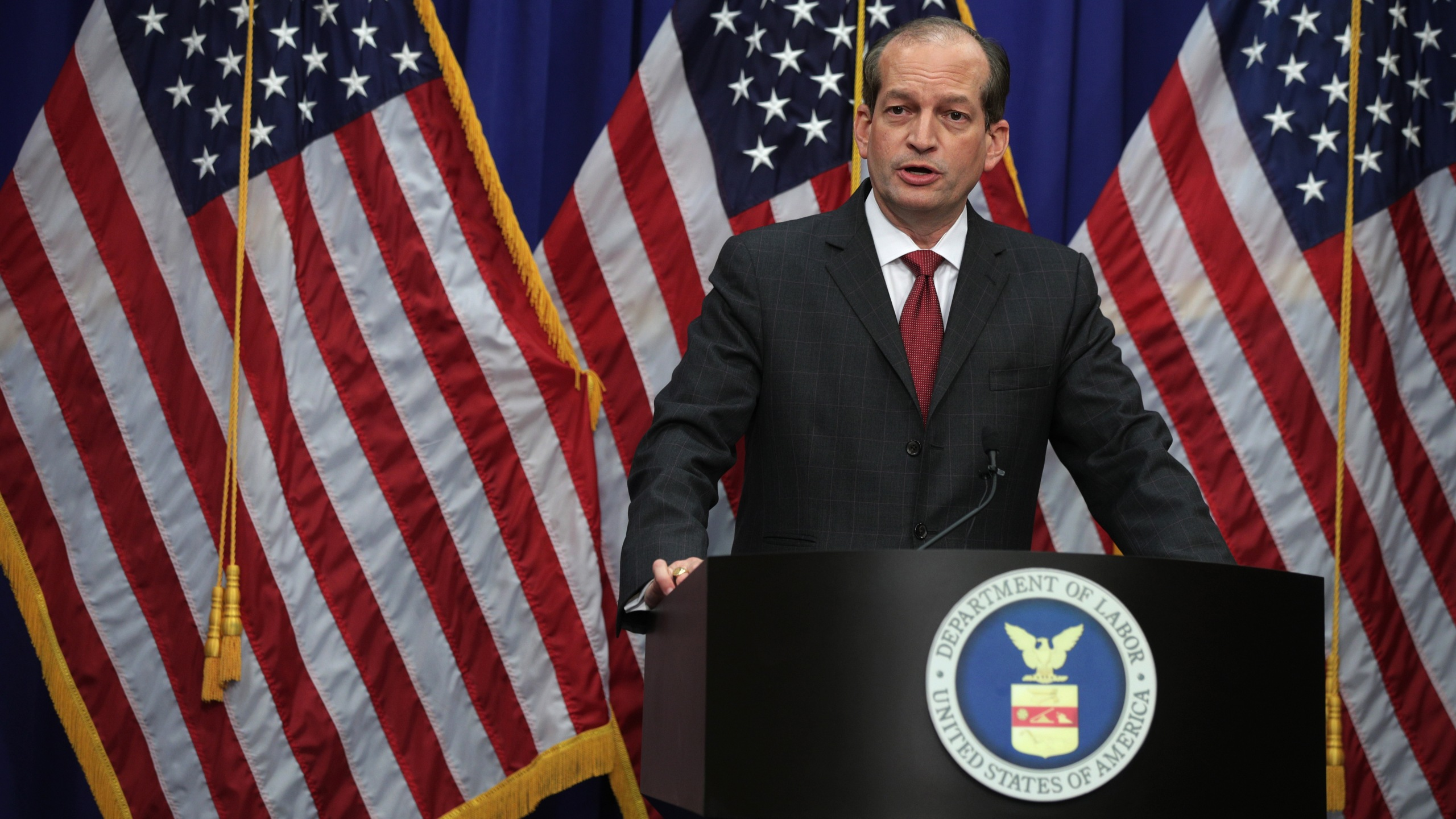 Secretary of Labor Alex Acosta speaks during a press conference at the Labor Department in Washington, D.C. on July 10, 2019. (Credit: Alex Wong/Getty Images)
