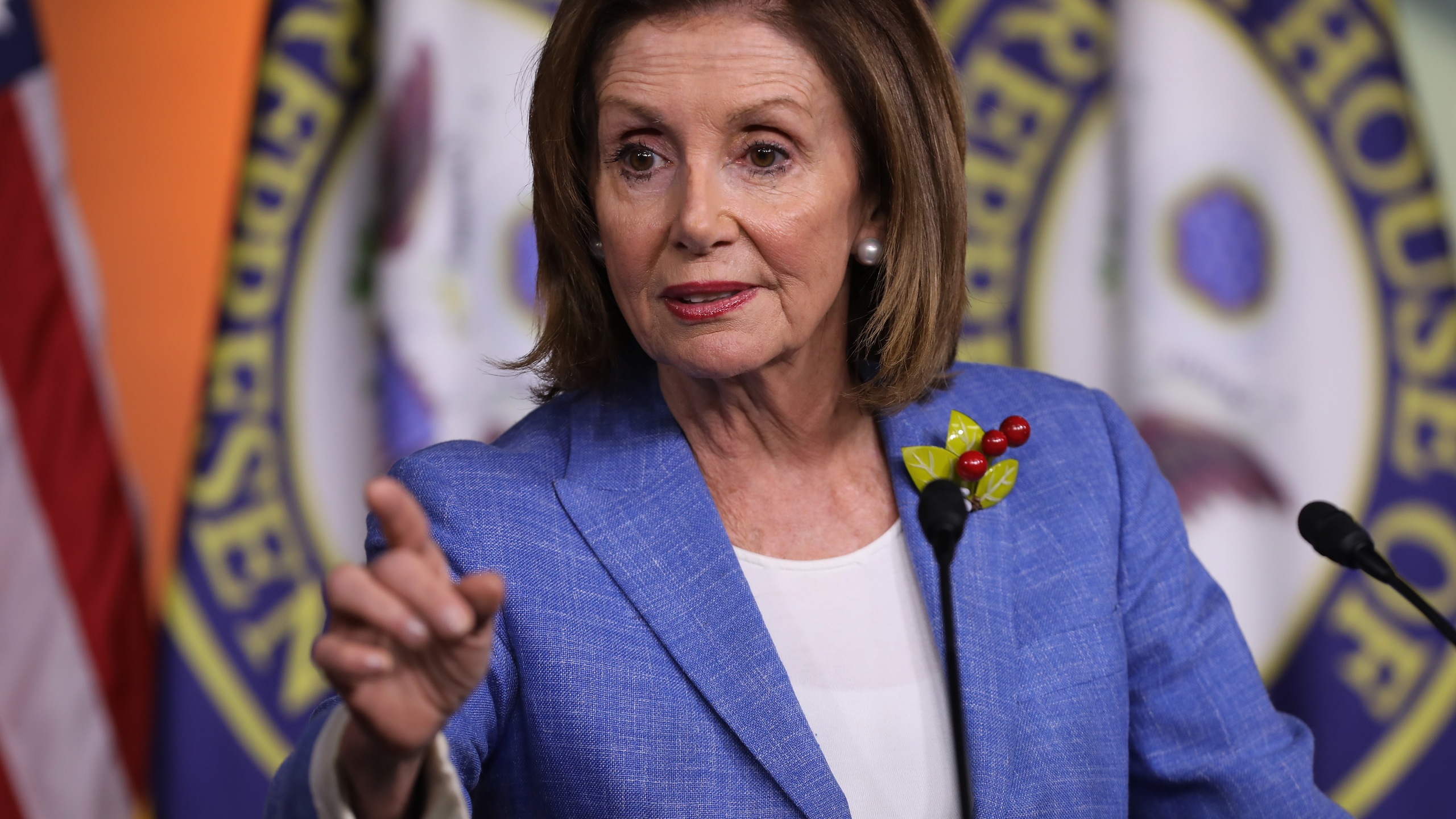 Speaker of the House Nancy Pelosi holds her weekly press conference at the U.S. Capitol on July 26, 2019. (Credit: Chip Somodevilla/Getty Images)