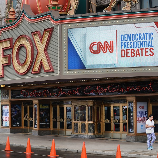 The Fox Theater and surrounding downtown area is prepared for the Democratic Presidential Debate hosted by CNN on July 29, 2019 in Detroit, Michigan. (Credit: Scott Olson/Getty Images)