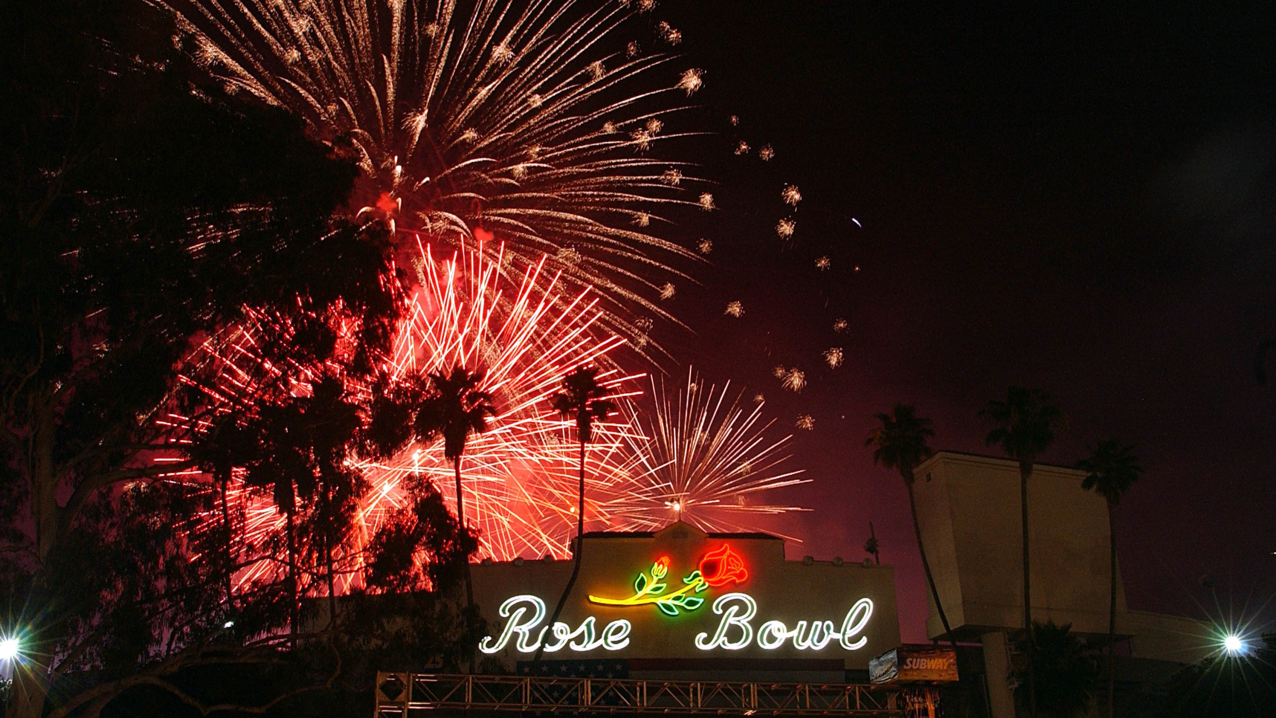 Fireworks explode over the Rose Bowl during a Fourth of July celebration in this file photo. (Credit: Steve Grayson / WireImage)