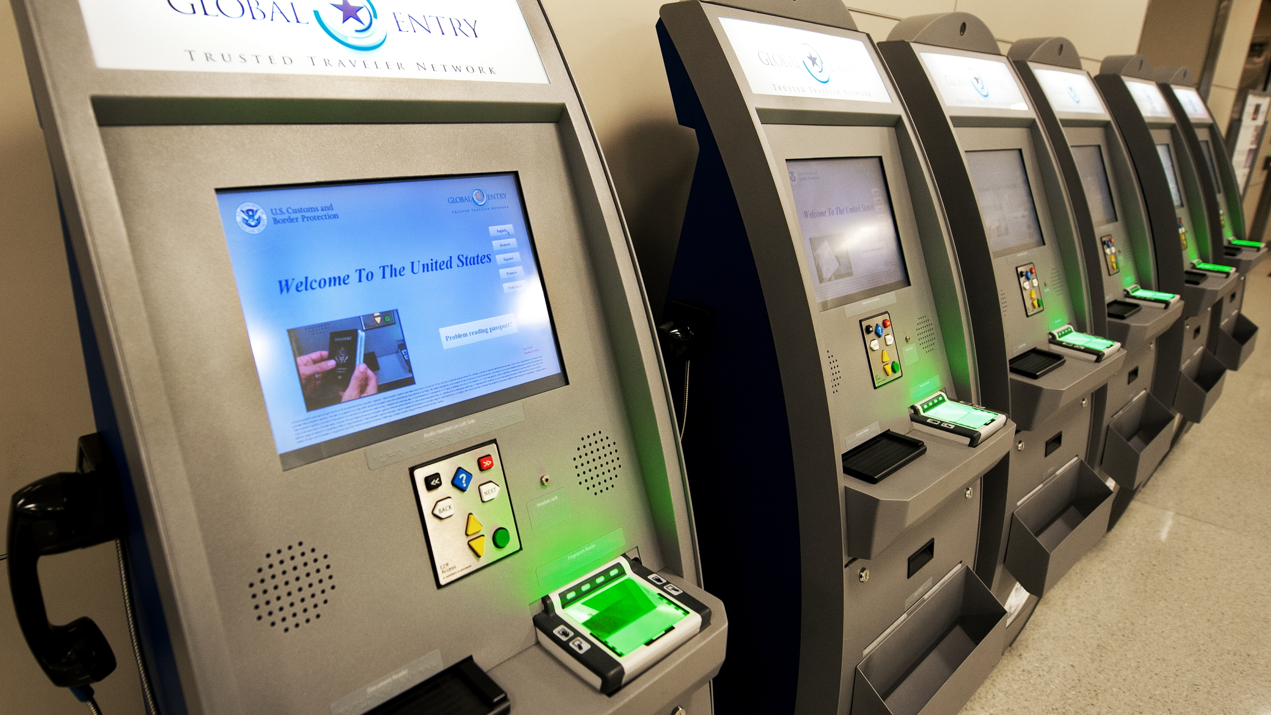 A file photo shows U.S. Customs and Border Protection Global Entry Trusted Traveler Network kiosks at Dulles International Airport on Dec. 21, 2011 in Sterling, Virginia, near Washington, D.C. (Credit: PAUL J. RICHARDS/AFP/Getty Images)