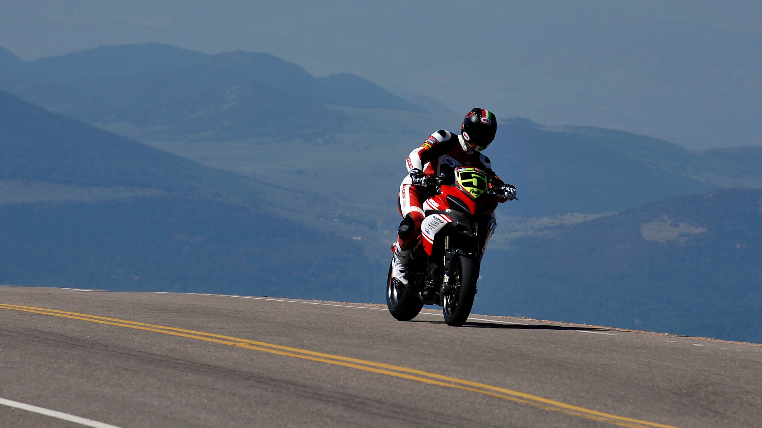 Ducati rider Carlin Dunne makes his way to the finish during the Pikes Peak International Hill Climb on August 12, 2012 in Colorado Springs, Colorado. (Credit: Rainier Ehrhardt/Getty Images)