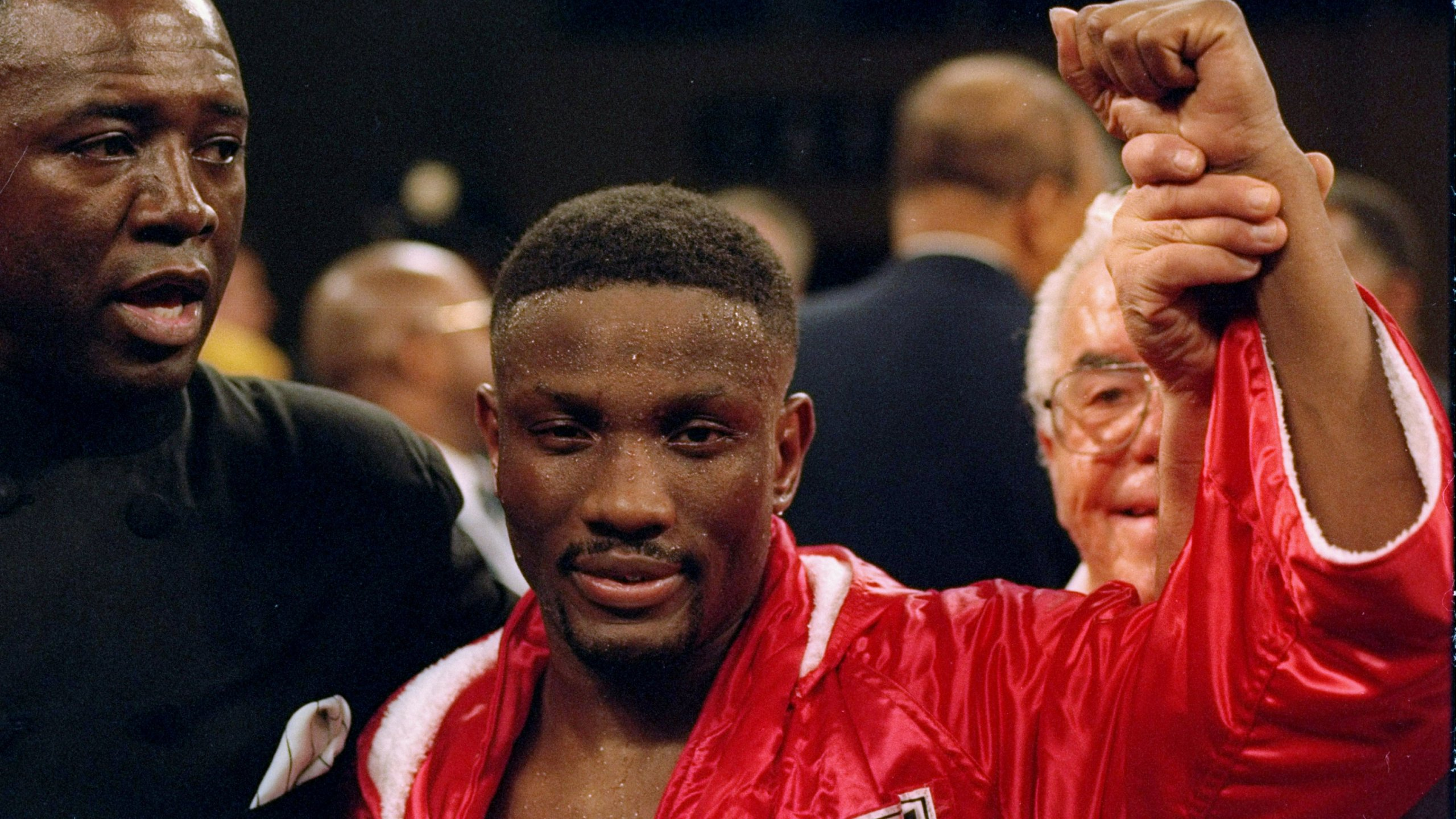Pernell Whitaker stands in the ring before a fight against Julio Cezar Vasquez. (Credit: Simon Bruty/Allsport via Getty Images)