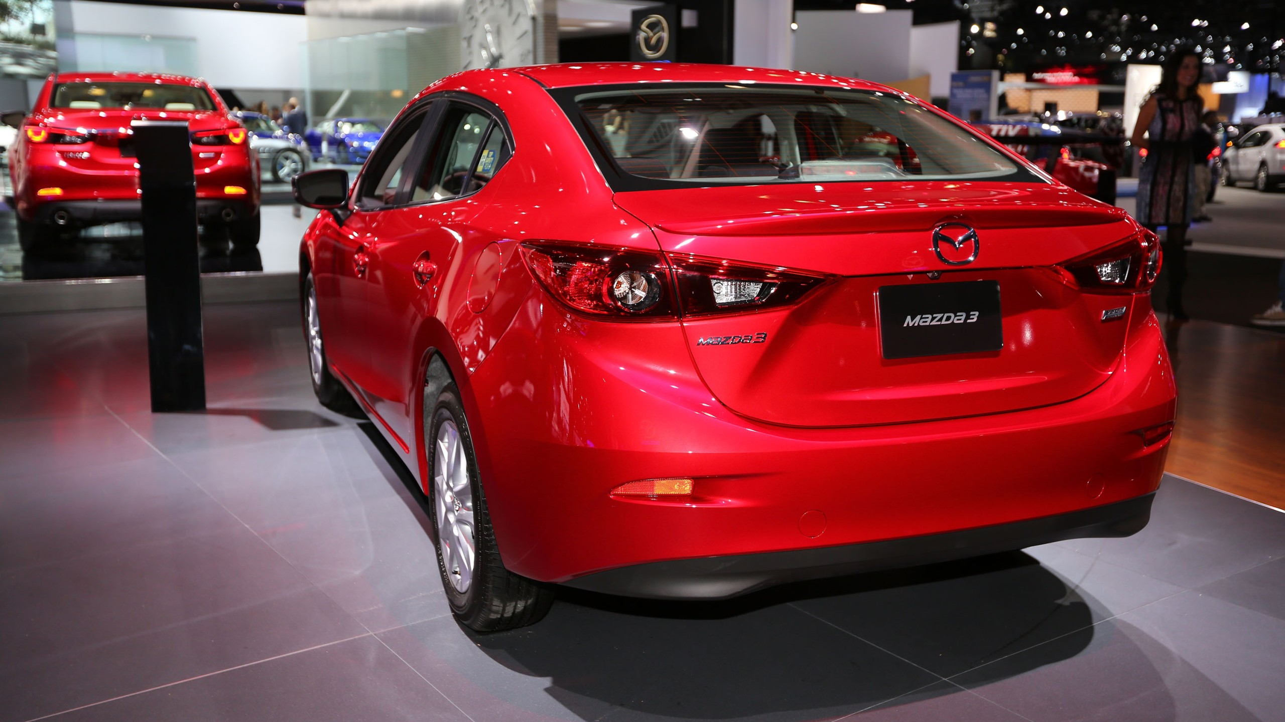 A Mazda 3 is displayed at the annual Los Angeles Auto Show on Nov. 19, 2014. (Credit: Victor Decolongon/Getty Images for Mazda Motor Co)