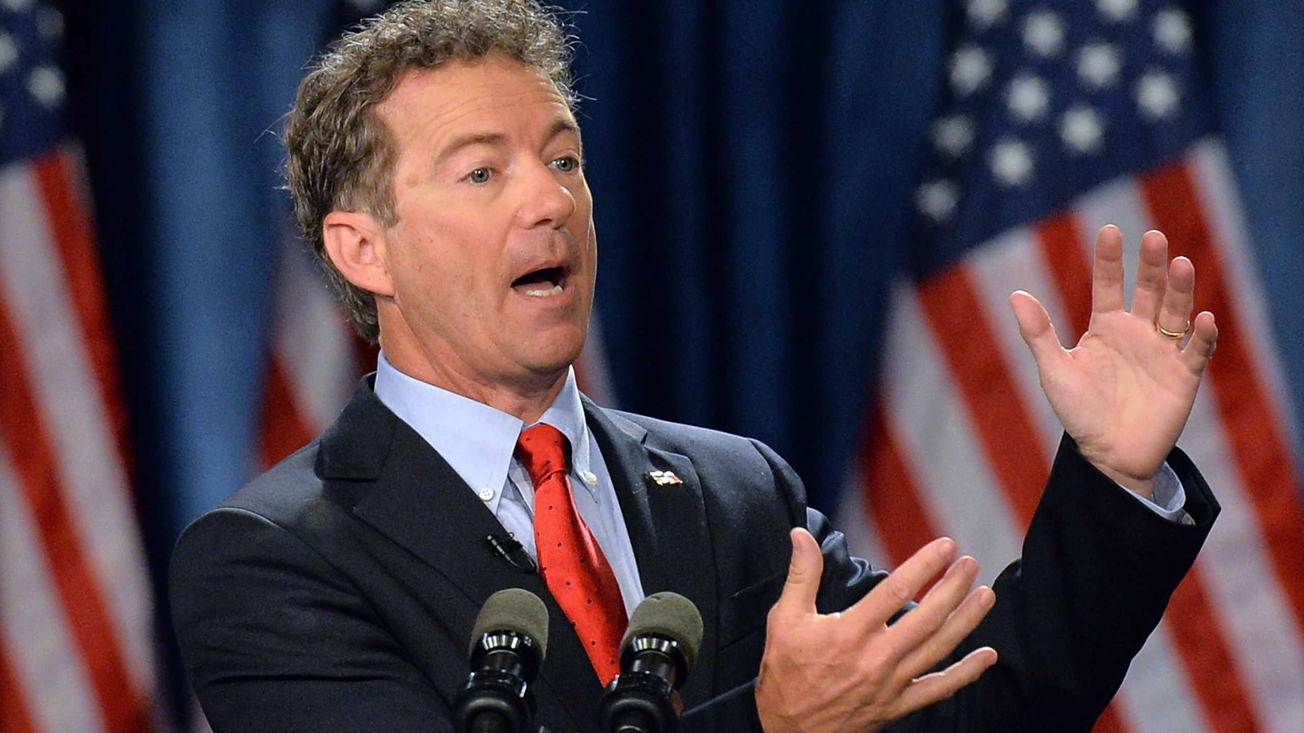 Senator Rand Paul speaks during the kickoff of the National Stand with Rand tour on April 7, 2015, in Louisville, Kentucky. (credit: Michael B. Thomas/AFP/Getty Images)