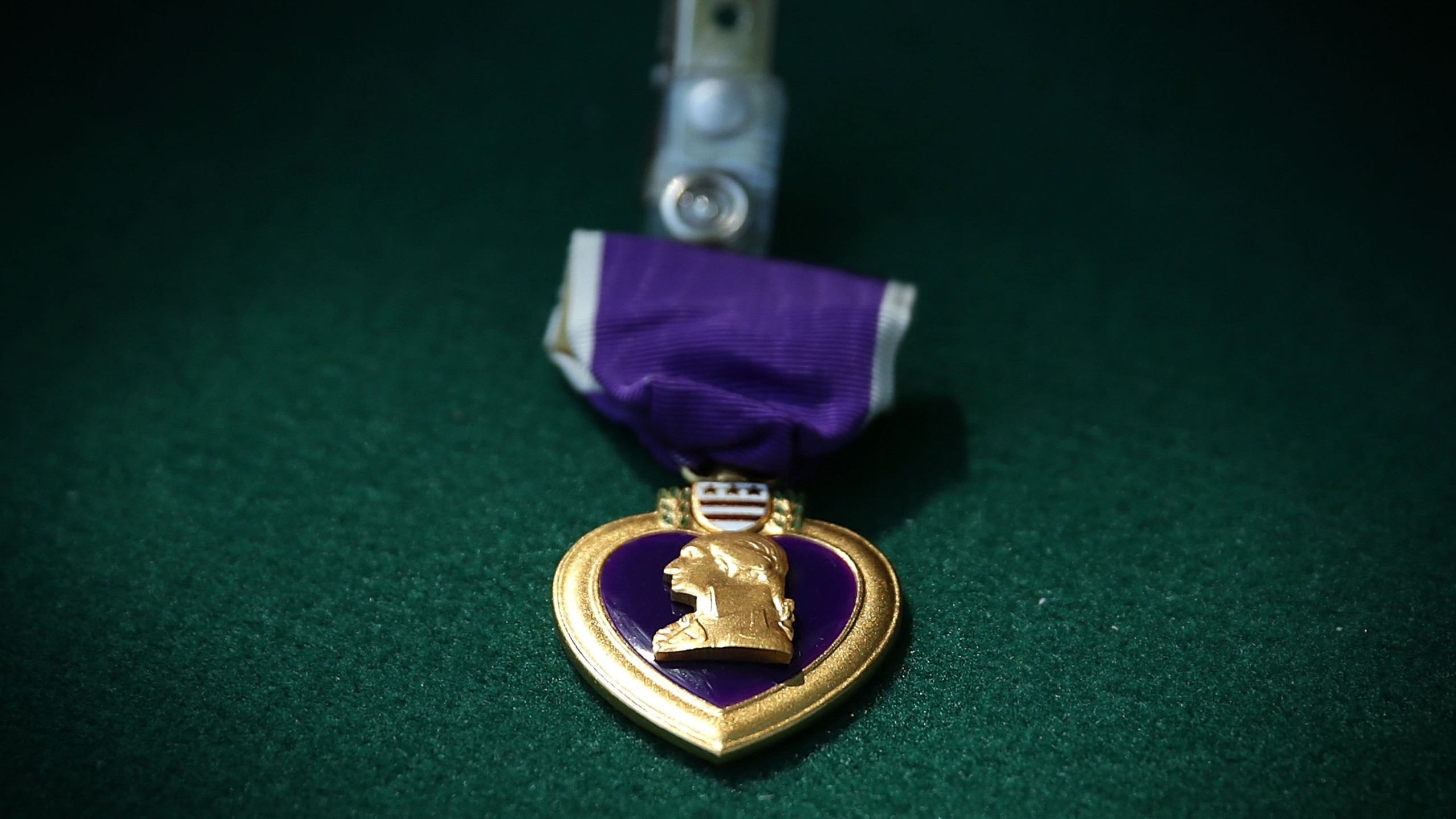 A Purple Heart medal is seen during a Purple Heart ceremony June 9, 2015 at George Washington's Mount Vernon in Mount Vernon, Virginia. (Credit: Alex Wong/Getty Images)