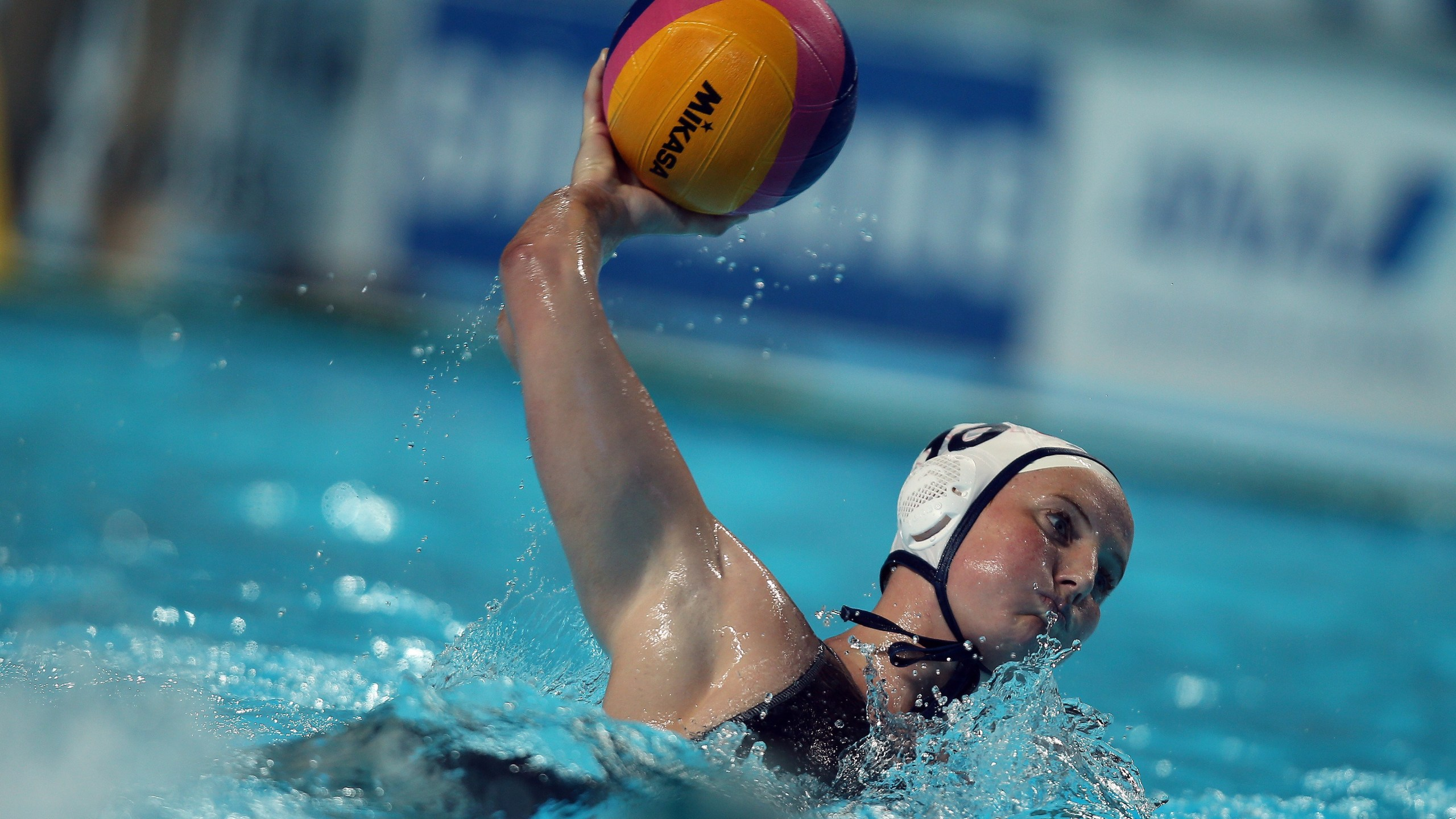Kaleigh Gilchrist plays the ball during the women's water polo semi-final match USA vs Australia at the 16th FINA World Championships on Aug. 5, 2015 in Kazan, Russia. (Credit: ROMAN KRUCHININ/AFP/Getty Images)