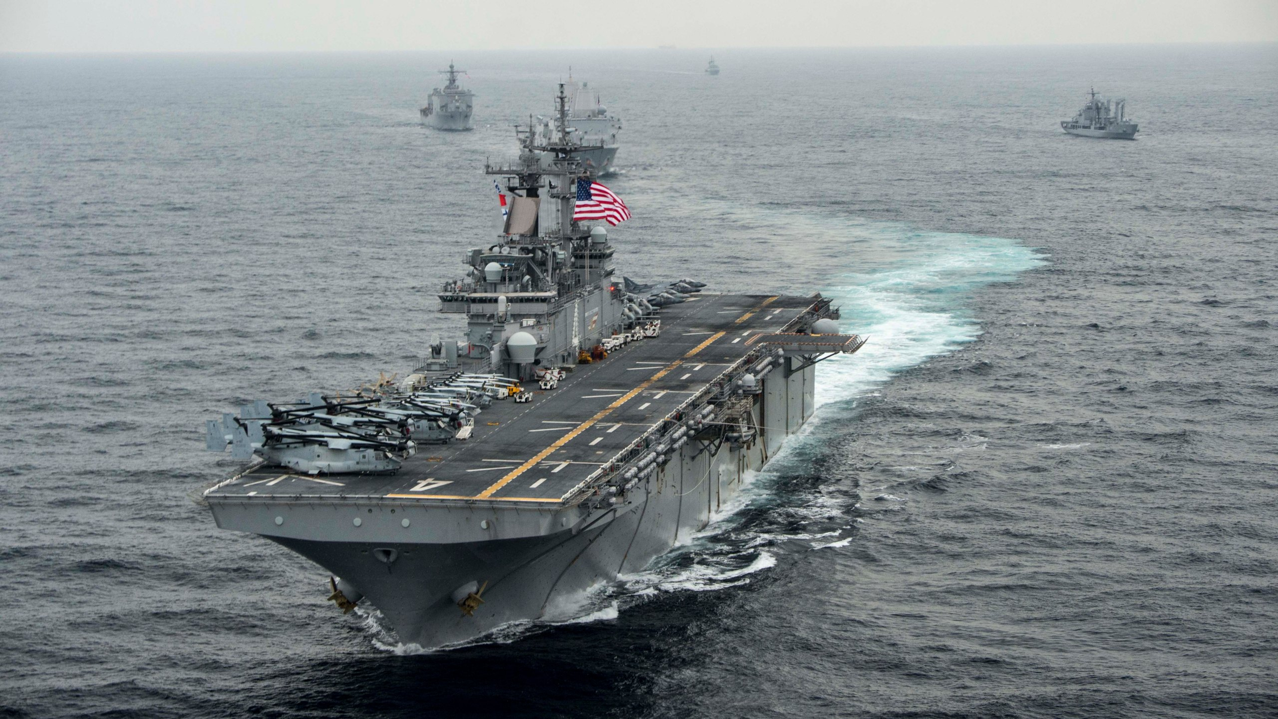 In this handout photo provided by the U.S. Navy, the amphibious assault ship USS Boxer (LHD 4) transits the East Sea on March 8, 2016 during Exercise Ssang Yong 2016. (Credit: MCSN Craig Z. Rodarte/U.S. Navy via Getty Images)