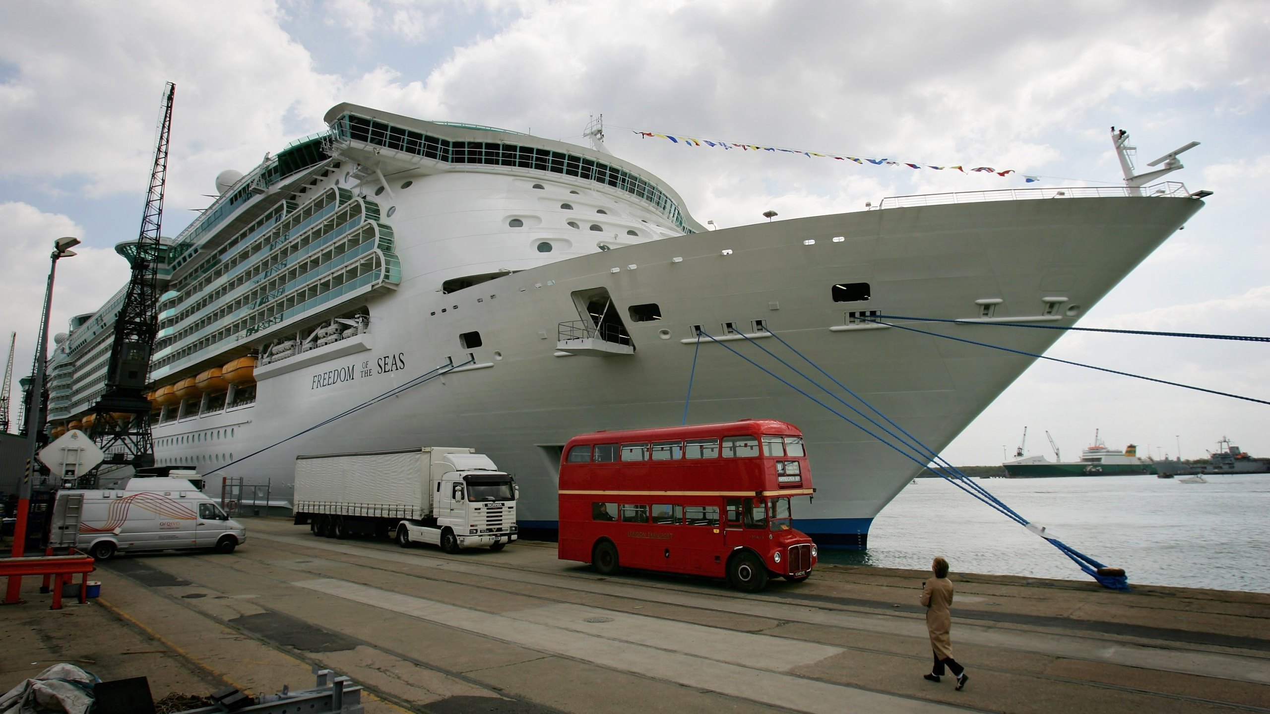"""The """"Freedom of the Seas"""", the world's largest cruise ship at the time, sits docked on April 29, 2006, in Southampton, England. (Credit: Daniel Berehulak/Getty Images)"""