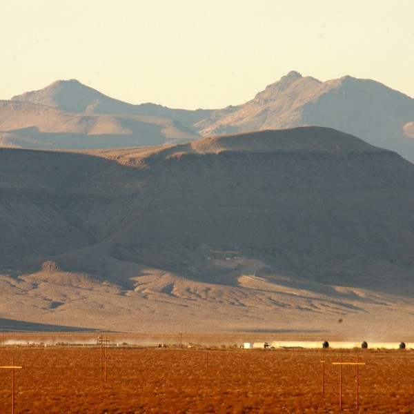 The proposed nuclear waste dump site of Yucca Mountain is seen in this file photo from February 7, 2002. (Credit: David McNew/Getty Images)