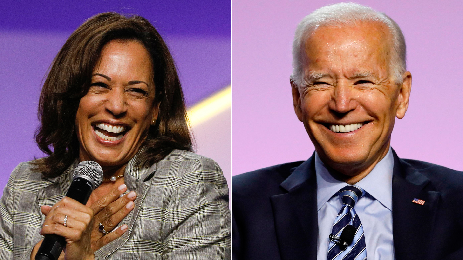 Kamala Harris, left, and Joe Biden participate in a presidential candidate forum at the NAACP 110th National Convention on July 24, 2019 in Detroit, Michigan. (Credit: Bill Pugliano/JEFF KOWALSKY/AFP/Getty Images)