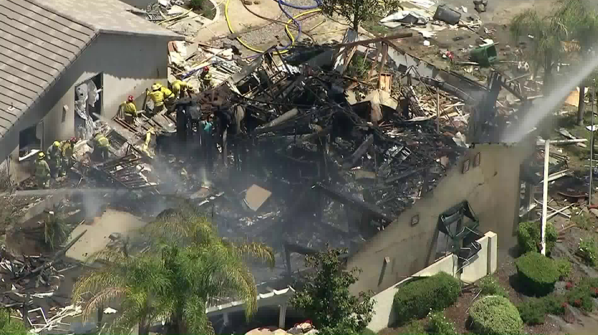 One person was killed and more than a dozen others hurt in an explosion that destroyed a home in Murrieta on July 15, 2019. (Credit: KTLA)