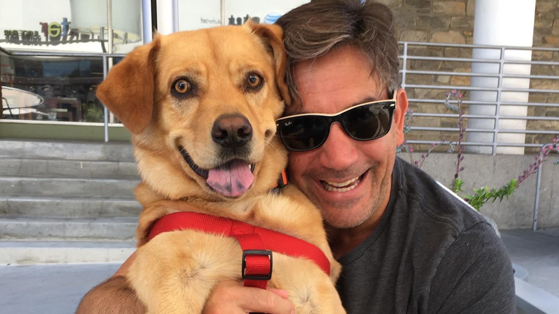 Gabriel Crispo, 49, is seen with his dog in an undated photo provided to KTLA by friends.