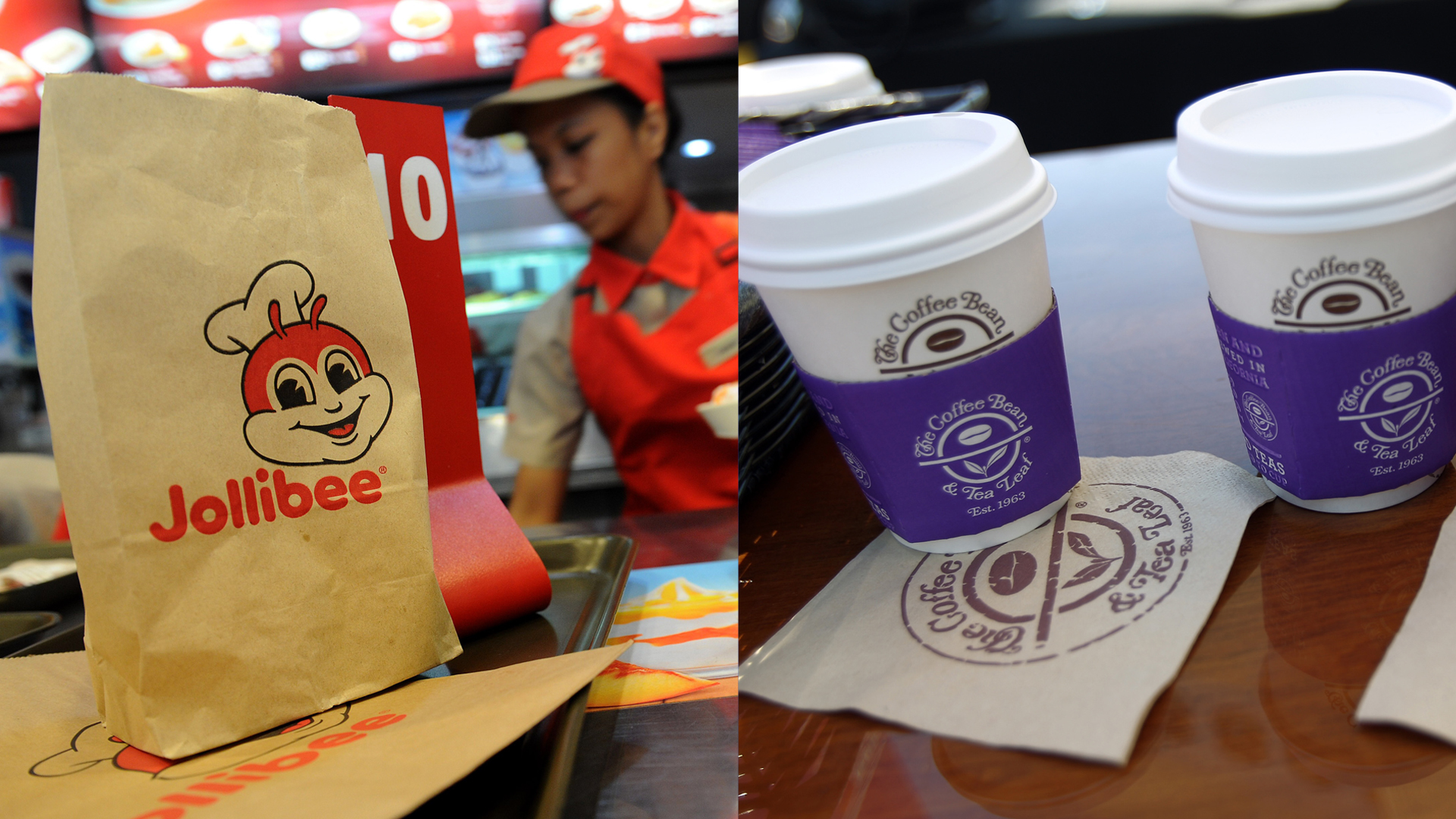 From left to right: Food from the Philippines' largest fast food chain, Jollibee, is pictured in Manila on Oct. 14, 2015. Hot beverages from on April 17, 2016 in West Hollywood. (Credit: Getty Images)