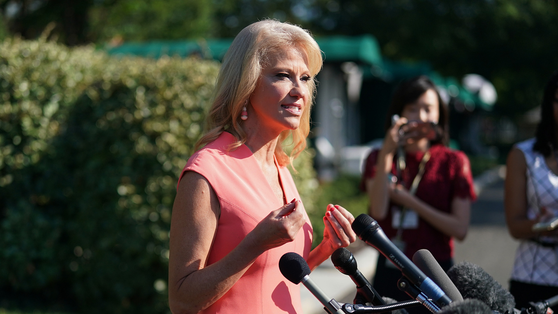 Kellyanne Conway talks to reporters outside the West Wing following a television interview with FOX News at the White House July 02, 2019 in Washington, DC. (Credit: Chip Somodevilla/Getty Images)