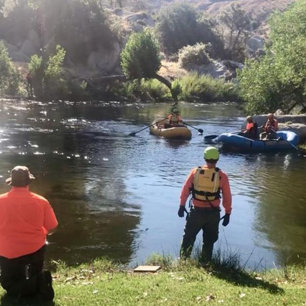 Search and rescue crews comb a stretch of the Kern River as they look for an 11-year-old girl who has been missing for more than a month. (Credit: Kern County Sheriff's Office)