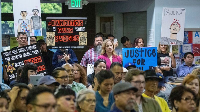 Residents speak out about the East Los Angeles station of the Sheriff's Department at a meeting on July 11, 2019. (Credit: Allen J. Schaben / Los Angeles Times)