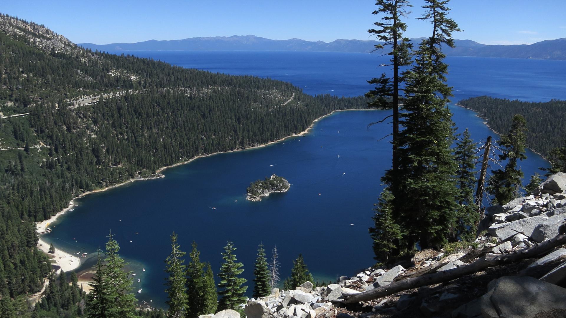 Emerald Bay lies under blue skies at Lake Tahoe on July 23, 2014. (Credit: Sean Gallup/Getty Images)