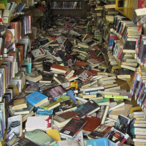 Books are strewn about the public library in Ridgecrest after a 6.4 magnitude quake shook the region on July 4, 2019. (Credit: Richard Wagner)