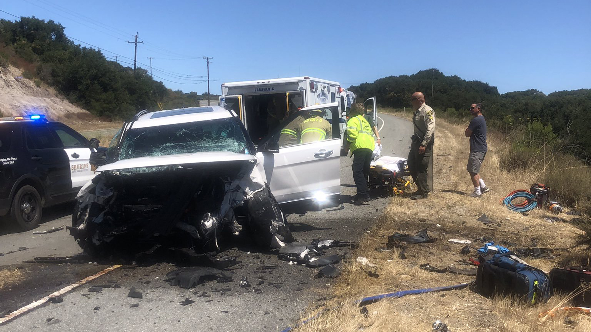 A Ford Explorer is seen badly damaged after a driver slammed into it head-on on Highway 1 in Santa Barbara County on July 26, 2019, in an image released by county fire officials.