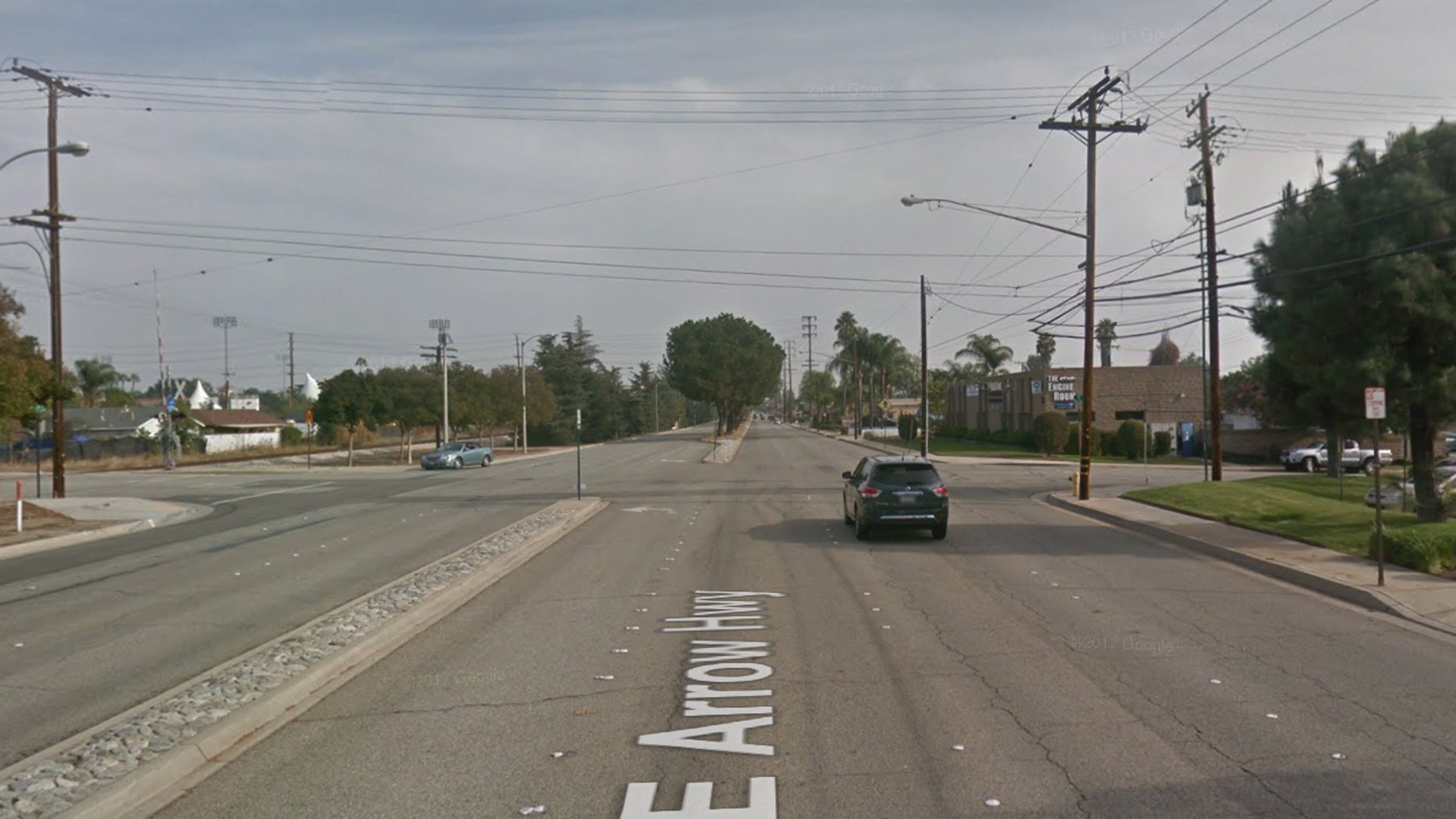 The intersection of Arrow Highway and A Street in La Verne, as pictured in a Google Street View image in November of 2016.